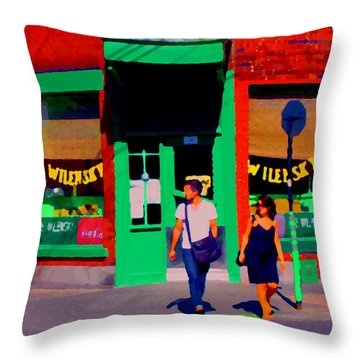 After Lunch At Wilenskys Restaurant Crossing Fairmount Montreal Street Scene Art Carole Spandau Throw Pillow by Carole Spandau
