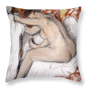 After The Bath Woman Drying Herself Throw Pillow by Edgar Degas