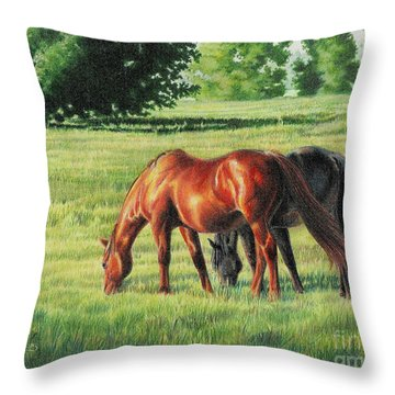 Afternoon Graze Throw Pillow by Carrie L Lewis