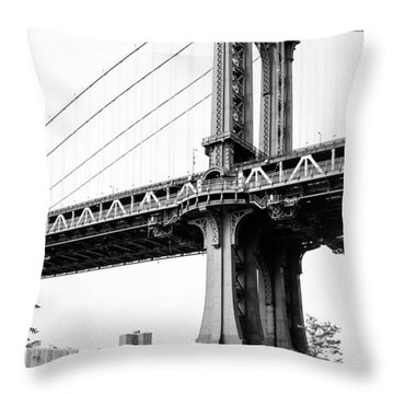 Afternoon Under The Manhattan Bridge - Brooklyn Bridge Park Throw Pillow by Gary Heller