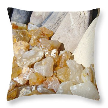 Agate Rocks Beach Art Prints Agates Throw Pillow by Baslee Troutman