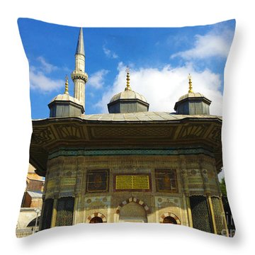 Ahmet II Fountain Next To Topkapi Palace Main Entry With A Minaret Of Hagia Sophia Palace Istanbul  Throw Pillow by Ralph A  Ledergerber-Photography