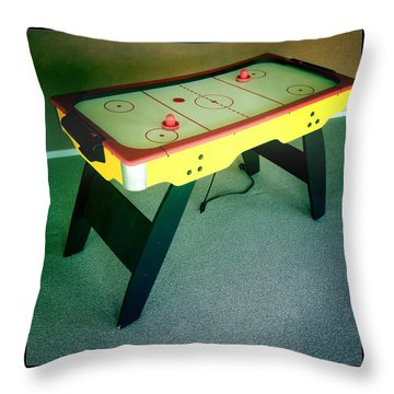 Air Hockey Table Throw Pillow by Les Cunliffe