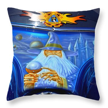 Airbrush Magic - Wizard Merlin On A Motorcycle Throw Pillow by Christine Till