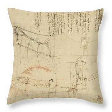Aircraft The Machine Has Been Reduced To The Simplest Shape Throw Pillow by Leonardo Da Vinci