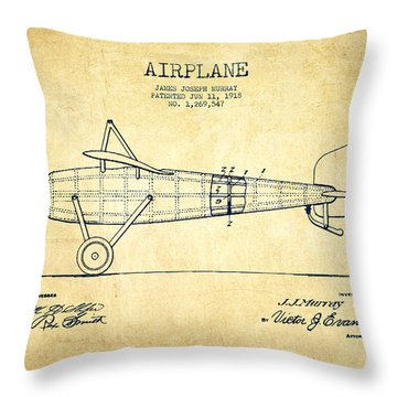 Airplane Patent Drawing From 1918 - Vintage Throw Pillow by Aged Pixel