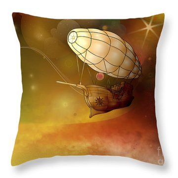 Airship Ethereal Journey Throw Pillow by Bedros Awak