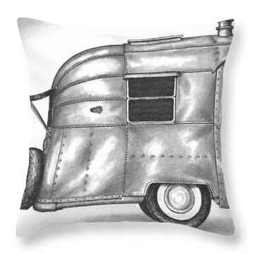 Airstream Vacation Throw Pillow by Adam Zebediah Joseph