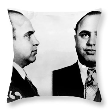 Al Capone Mug Shot Throw Pillow by Edward Fielding