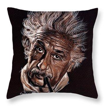 Albert Einstein Portrait Throw Pillow by Daliana Pacuraru