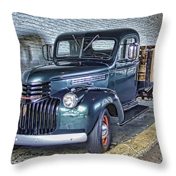 Alcatraz 1940 Chevy Utility Truck Throw Pillow by Daniel Hagerman