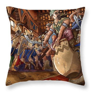 Ali Baba Saves The Princess Throw Pillow by Reynold Jay