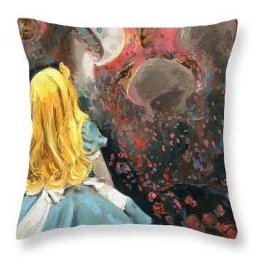 Alice In Mushroom Acres Throw Pillow by Luis  Navarro