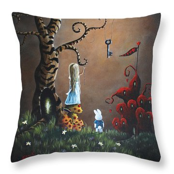Alice In Wonderland Original Artwork - Key To Wonderland Throw Pillow by Shawna Erback