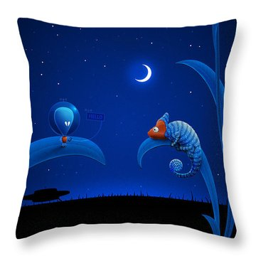Alien And Chameleon Throw Pillow by Gianfranco Weiss