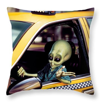 Alien Cab Throw Pillow by Steve Read