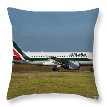 Alitalia Airbus A319 Throw Pillow by Paul Fearn