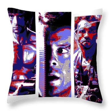 All-american 80's Action Movies Throw Pillow by Dale Loos Jr