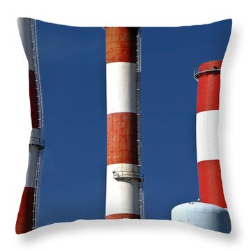 All American Industry Smokestacks Throw Pillow by Amy Cicconi