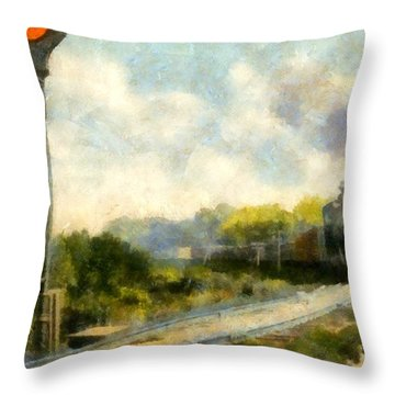 All Clear On The Pere Marquette Railway  Throw Pillow by Michelle Calkins