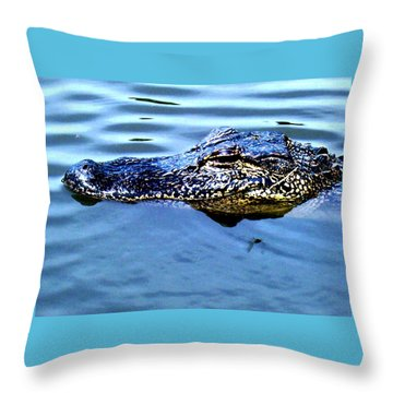 Alligator With Spider Throw Pillow by Robin Lewis