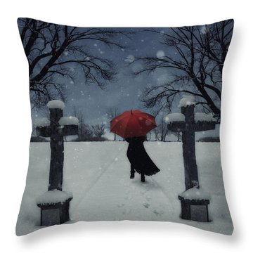 Alone In The Snow Throw Pillow by Joana Kruse