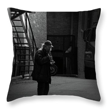 Alone In The Streets Throw Pillow by Karol Livote