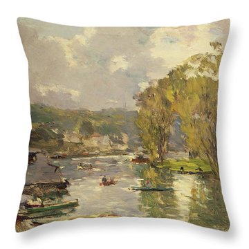 Along The Seine At Meudon Throw Pillow by Albert Charles Lebourg