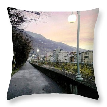 Along The Stream Morning First Light Throw Pillow by Giuseppe Epifani