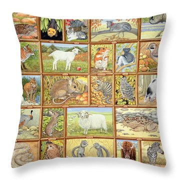 Alphabetical Animals Throw Pillow by Ditz