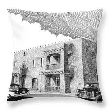 Amador Hotel In Las Cruces N M Throw Pillow by Jack Pumphrey