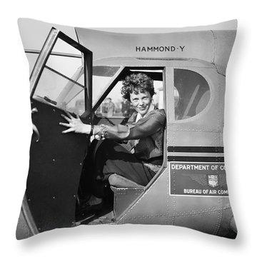 Amelia Earhart - 1936 Throw Pillow by Daniel Hagerman
