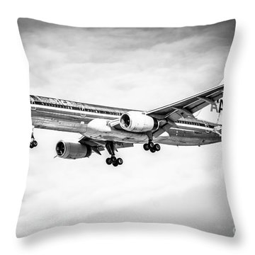 Amercian Airlines 757 Airplane In Black And White Throw Pillow by Paul Velgos