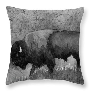 Monochrome American Buffalo 3  Throw Pillow by Hailey E Herrera