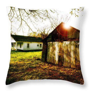 American Fabric   Mickey Mantle's Childhood Home Throw Pillow by Iconic Images Art Gallery David Pucciarelli