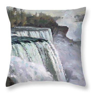 American Falls Niagara Throw Pillow by Ylli Haruni