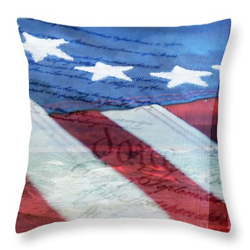 American Flag Throw Pillow by Christina Rollo