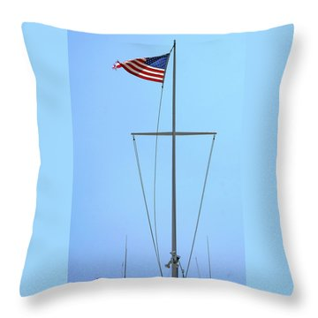 American Flag On Mast Throw Pillow by Ben and Raisa Gertsberg