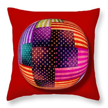American Flags Orb Throw Pillow by Tony Rubino