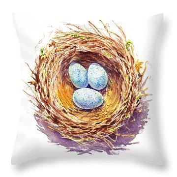 American Robin Nest Throw Pillow by Irina Sztukowski