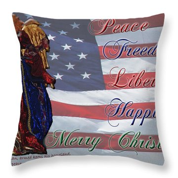 Americana Military Christmas 1 Throw Pillow by Robyn Stacey