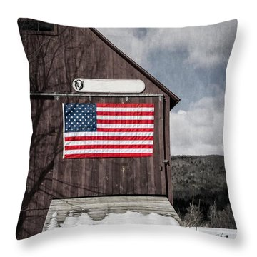 Americana Patriotic Barn Throw Pillow by Edward Fielding
