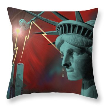 Americas Deepest  Wound  - 100 Throw Pillow by Irmgard Schoendorf Welch