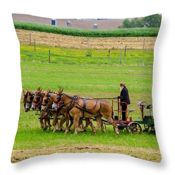 Amish Farmer Throw Pillow by Guy Whiteley
