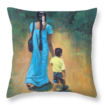 Amma's Grip Leads. Throw Pillow by Usha Shantharam
