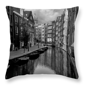 Amsterdam Canal Throw Pillow by Heather Applegate
