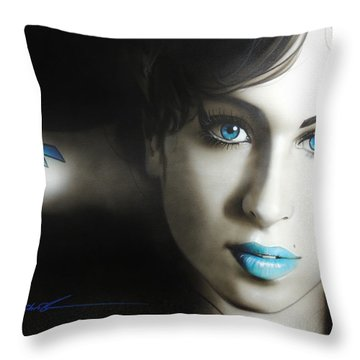Amy Winehouse - 'amy 'n' Blues' Throw Pillow by Christian Chapman Art