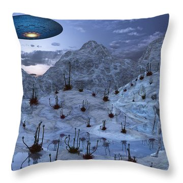 An Alien Reptoid Being Signaling Throw Pillow by Mark Stevenson