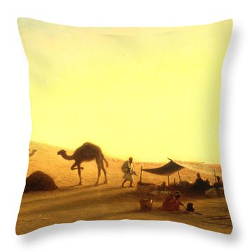 An Arab Encampment  Throw Pillow by Charles Theodore Frere