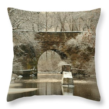 An Arched Stone Bridge Throw Pillow by Linda Jackson